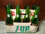 1960's 7 Up - 8 Pack Carrier W/bottles Acl Vtg Collectible Decor 7up