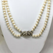 Stunning Vintage Double Strand Of Pearls With Genuine Diamond Clasp Valuation