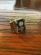 Vintage Knights Of Columbus 14k Gold And Diamond Ring 16.5 Grams Size 8