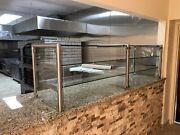 84 7ft Pizza Display Case Glass Sneeze Guard All Stainless Steel W/ Shelf