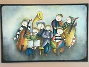 Vintage J Roybal Band Musicians Whimsical A Large Oil Painting On Canvas Signed