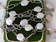 White Coin Keshi Pearl Rhodium Silver Plated Link Long 40 Chain Necklace 9k 70