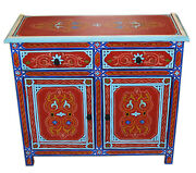 Moroccan Dresser Night Stand Table Wood Moorish Handmade And Painted Double Red