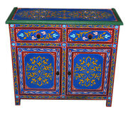 Moroccan Dresser Night Stand Table Wood Moorish Handmade And Painted Double Blue