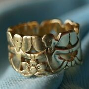 Retired And Very Rare James Avery Angels With Flowers Band 14k Gold Size 6.75