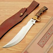 Rough Rider Bowie Fixed Knife Stainless Steel Clip Point Blade Stag Bone Handle