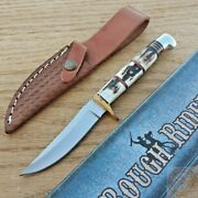Rough Rider Small Hunter Fixed Knife 3.5 Stainless Steel Blade Stag Bone Handle