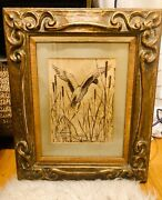 Vintage Duck Print Flying Out Of The Reeds Laid Paper Wooden Frame