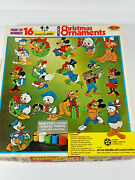 1976 Walt Disney Paint By Numbers Christmas Ornaments W/ Box Mickey Mouse Goofy