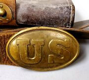 Antique Civil War Leather Belt And Us Buckle W/m1874 Cartridge Pouch - Military