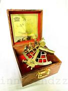 Nautical Brass Vintage Style 9 Marine Ship Sextant Instruments With Wooden Box