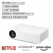 Lg 4k Uhd Smart Home Theater Cinebeam Projector With Alexa Built-in White New