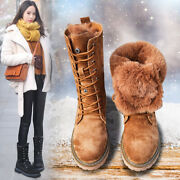 2020 Brown Suede Leather Womenand039s Boots Winter Casual Warm Wool Calfskin Boots