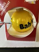 Holiday Emoji Bah Humbug Unhappy Face Yellow Glass Ornament Used 2016