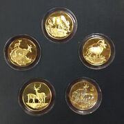 5 1972 East African Wildlife Society Big Game Animal Medals 24 K Plated On .925
