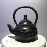 Chinese Antiques Fengshui Copper Ware Longfeng Chengxiang Teapot Ornament