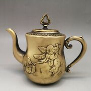 Chinese Antiques Fengshui Copper Ware Brass Teapot Ornament