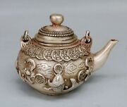 Chinese Antiques Pure Copper Goldfish Relief Teapot Ornament