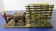 Vintage Handmade Carved Painted Folk Art Sculpture Ox Cart And Driver Chile,1964
