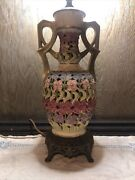 Estate Find Art Deco Floral Table Lamp Hand Painted