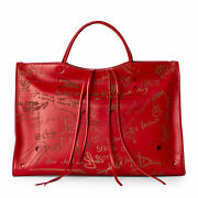 Balenciaga Blackout Leather City Bag In Red