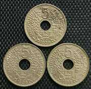 1939 Indo-china Francaise 5 Cent Coin 3pcs Ø 24mm+free1 Coin 10114