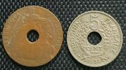 Indo-china Francaise ,1923 1 Cent And1938 5 Cent Coins 2pcs+free1 Coin 10115
