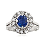 1970 Vintage Sapphire And Diamond Ring In Platinum Size 5.25