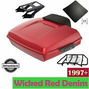 Advanblack Wicked Red Denim Razor Tour Pack Trunk Luggage For 1997+ Harley