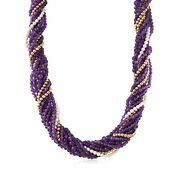 Vintage Amethyst And Cultured Pearl 10-row Beaded Necklace In 14kt Gold 21