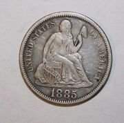 1885 Seated Silver Dime G25