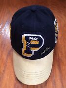 Nwt Polo Varsity Pwing Leather Letterman 6 Panel Pin Navy Wool Hat