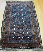 5and039x9and039 Antique Tribal Floral Balouchh Blue Handmade Wool Primitive Oriental Rug