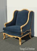 French Country Guy Chaddock Blue Velvet Coastal Bergere Wingback Chair