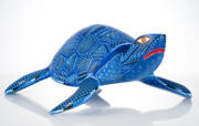 Mexican Alebrije Blue Turtle Wood Carving From Oaxaca Mexico.