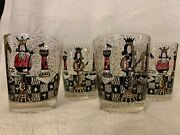 4 Georges Briard Mid Century Chess Piece Rocks / Double Old Fashioned Glasses.