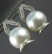 Large .40ct Diamond And Aaa South Sea Pearl 18kt White Gold Fun Hanging Earrings