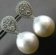 Estate Large .81ct Diamond And Aaa South Sea Pearl 18k White Gold Hanging Earrings