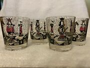 4 Georges Briard Mid Century Chess Piece Old Fashioned Glasses. A Rare Find.