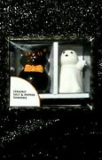 Sweet Vintage Style Ceramic Halloween Cat And Ghost Salt And Pepper Shaker Set 3
