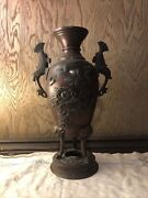 Estate Find Antique Chinese Bronze Vase Unknown Maker Birds Fish And Flowers