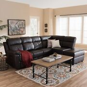 Roland Modern Dark Brown Faux Leather Sectional Sofa W/ Recliner Storage Chaise
