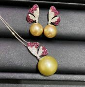 Set Of 10-13mm South Sea Round Gold Pearl Pendant 18k Manjin