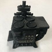 Vintage Queen Cast Iron Wood Burning Stove W/pans Toy Miniature Lot