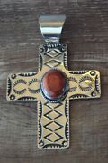 Native American Jewelry Nickel Silver Apple Coral Cross Pendant By Jackie Cle...
