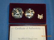 1992-s Barcelona Olympic Two Coin Set Proof Silver Dollar Clad Half Dollar
