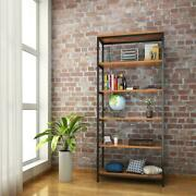 5-shelf Bookcase Metal Frame Tall Rustic Industrial Shelving Unit Open Display