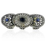 18k Gold Sapphire Knuckle Ring Sterling Silver Pave Diamond Vintage Jewelry