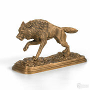 Very Big Table Bronze Statuette Wolf On The Hunt