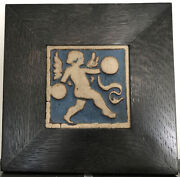 """Grueby Pottery Rare Blue Angel Tile Arts And Crafts Boston 6"""" Framed"""